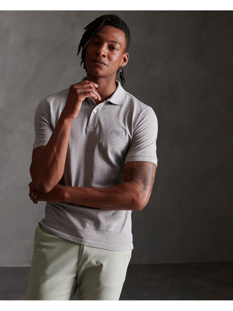 Superdry Grey Marl Organic Cotton Micro Lite Pique Polo Shirt