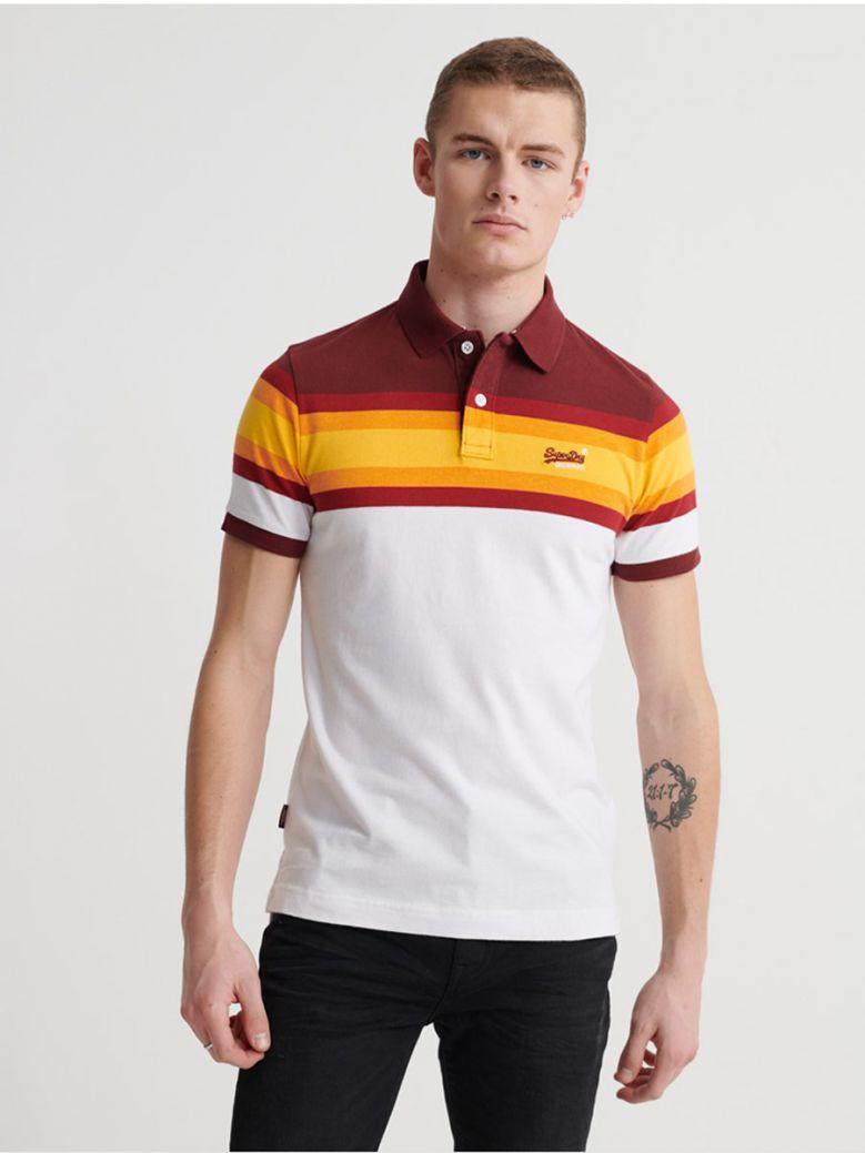Superdry Yellow Stripe Organic Cotton Malibu Stripe Polo Shirt