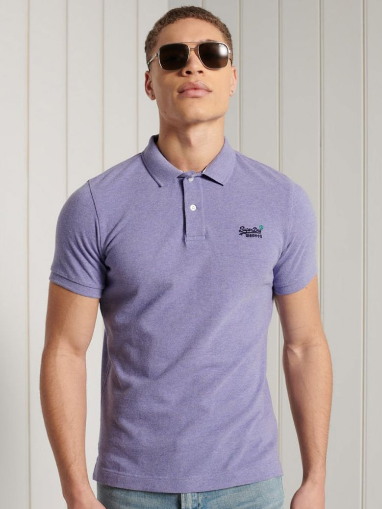 Superdry Notch Lavender Marl Organic Cotton Short Sleeved Pique Polo