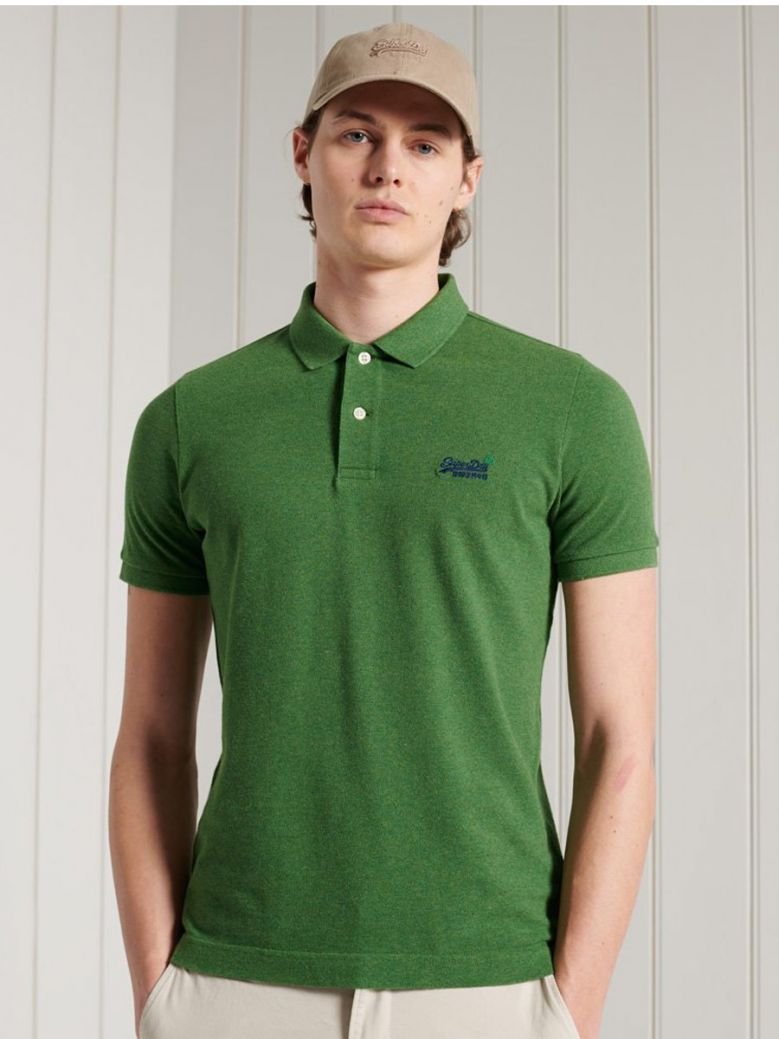 Superdry Moss Green Marl Organic Cotton Short Sleeved Pique Polo