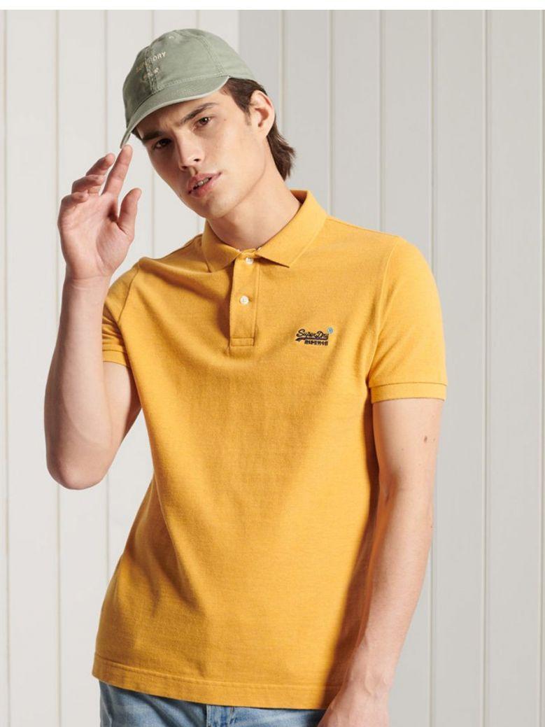 Superdry Ochre Marl Organic Cotton Short Sleeved Pique Polo