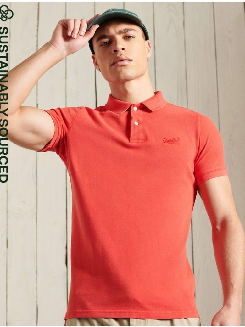 Superdry Apple Red Organic Cotton Vintage Destroyed Polo Shirt