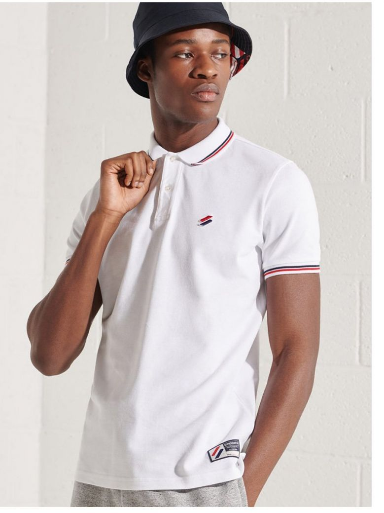 Superdry Optic White  Sportstyle Twin Tipped Polo Shirt