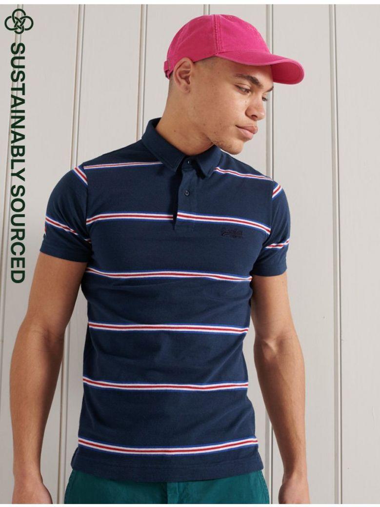 Superdry Academy Stripe Polo Shirt Navy