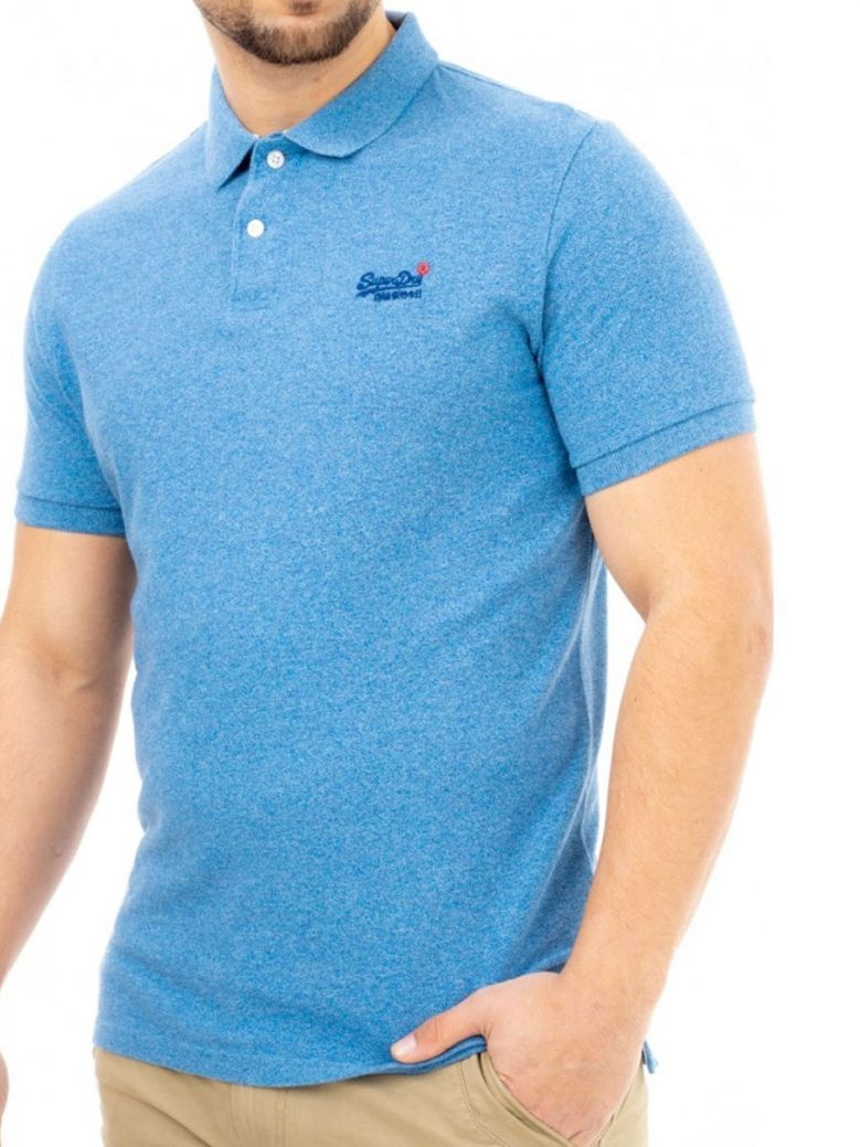 Superdry Bright Blue Grit Organic Cotton Short Sleeved Pique Polo