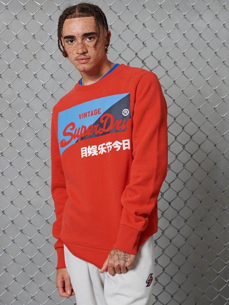 Superdry Orange Vintage Logo Primary Crew Brushed Sweatshirt