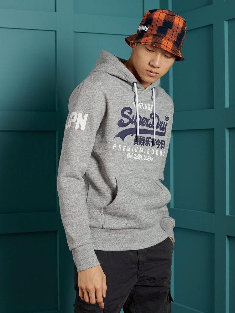 Superdry Grey Vintage Logo Hoodie