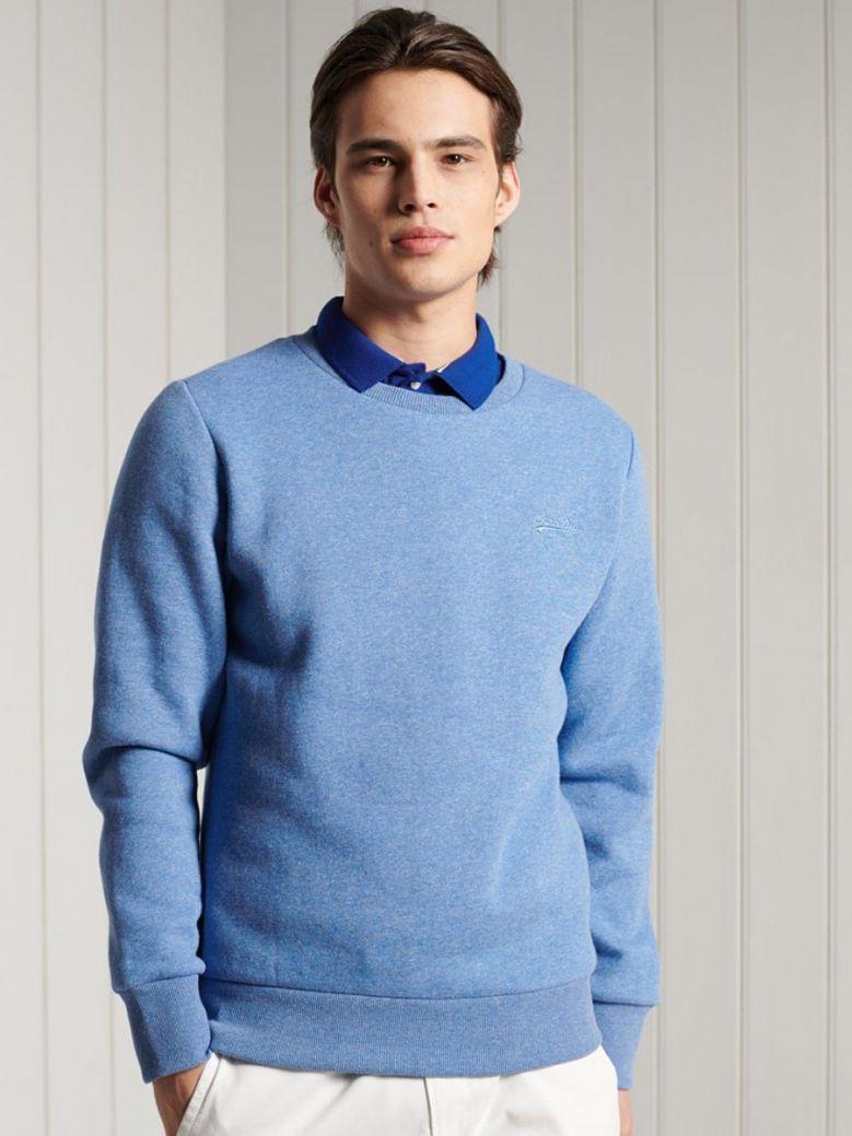 Superdry Bright Blue Grit Orange Label Classic Crew Sweatshirt