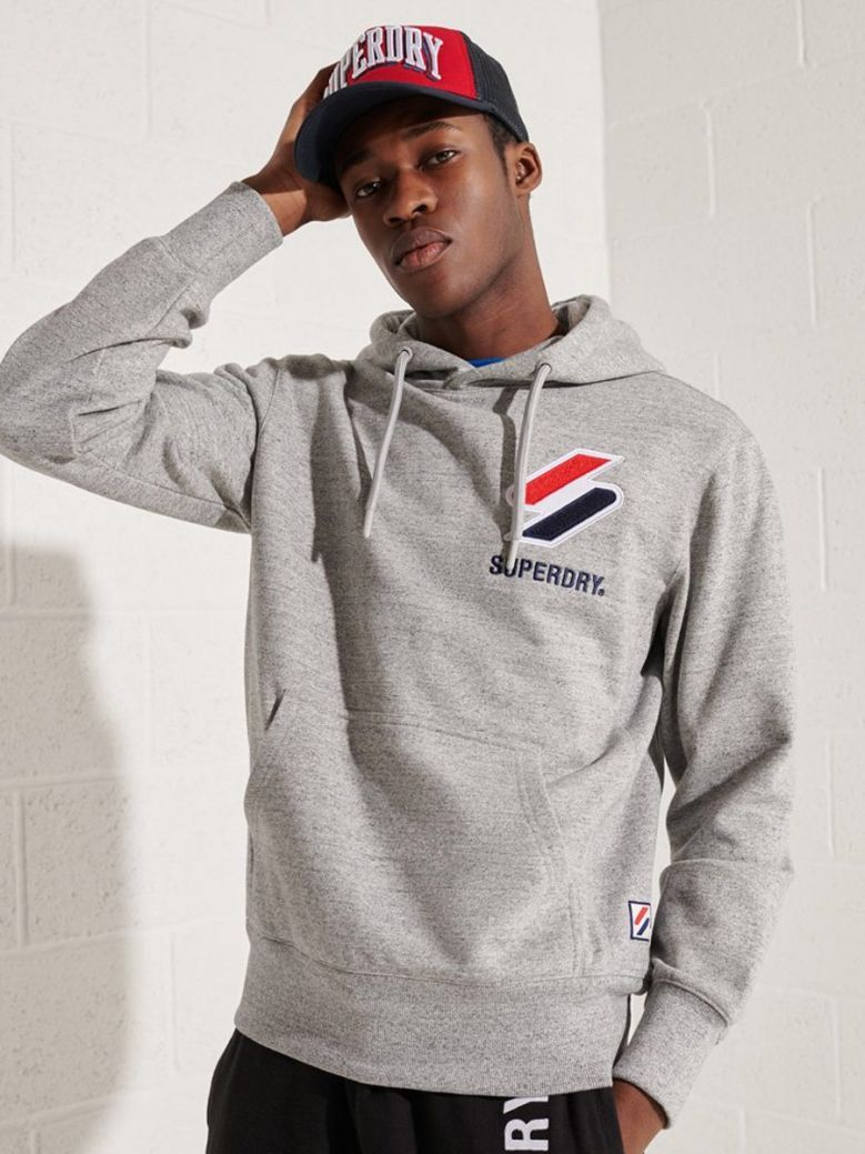 Superdry Grey Slub Grindle Sportstyle Applique Hoodie
