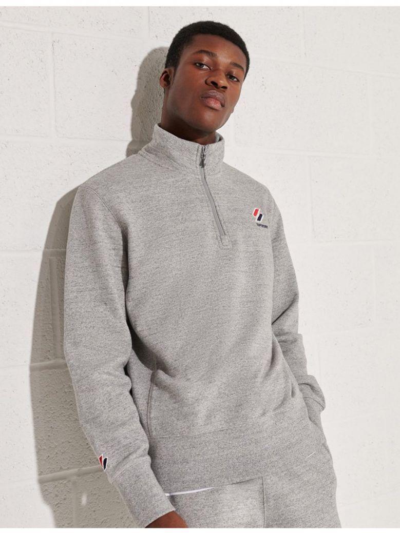 Superdry Grey Slub Grindle Sportstyle Essential Half Zip Top