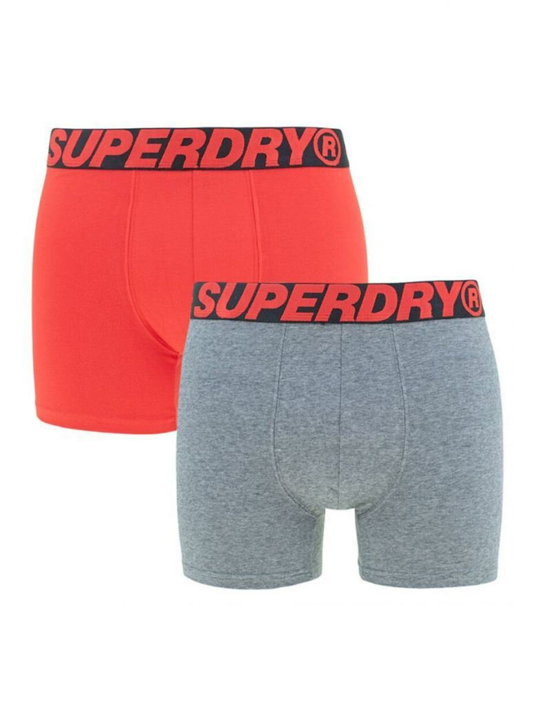 Superdry Apple Red and Stone Grey Feeder Boxer Pack