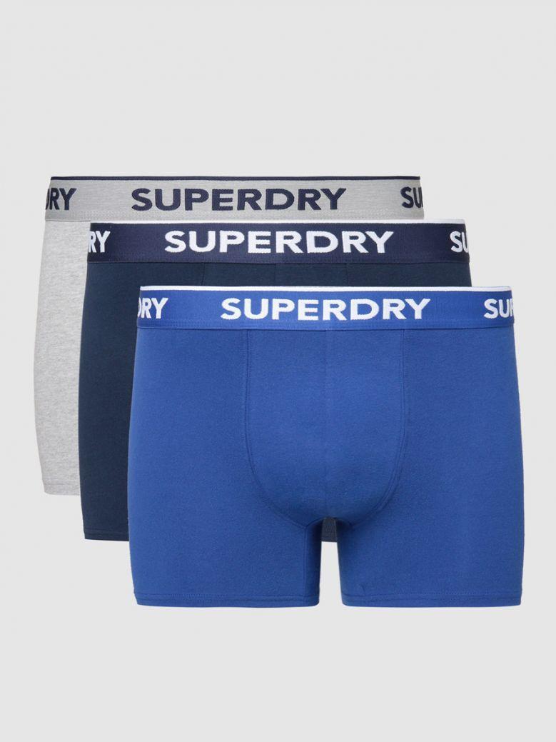 Superdry Richest Navy / Vivd Cobalt / Greymarl Classic Boxer Triple Pack