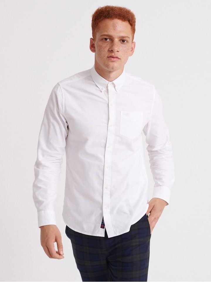 Superdry White Classic University Long Sleeve Shirt
