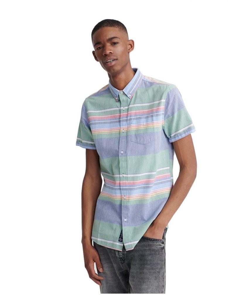 Superdry Green Stripe Classic East Coast Oxford Short Sleeved Shirt