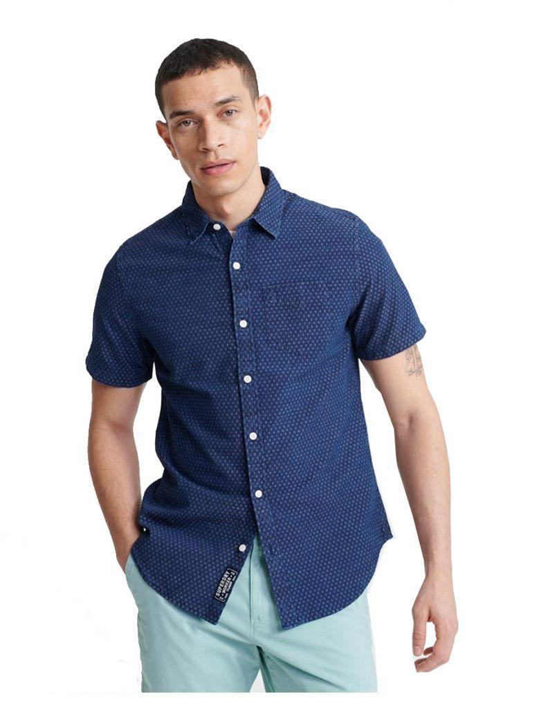 Superdry Indigo Dobbie Loom Short Sleeve Shirt