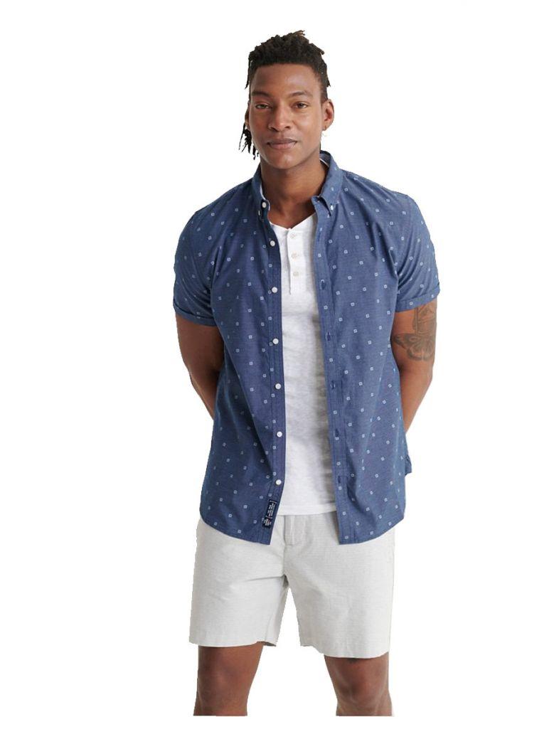 Superdry Blue Ditsy Classic Shoreditch Print Short Sleeved Shirt