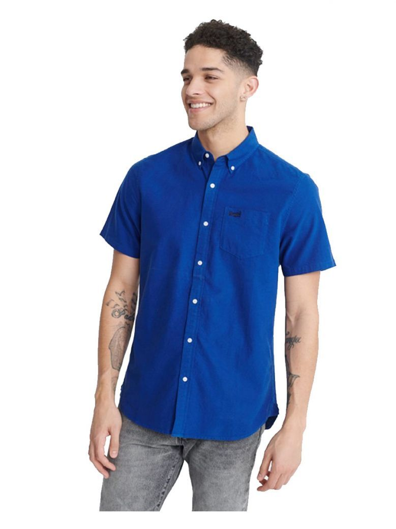 Superdry Imperial Blue Classic University Oxford Short Sleeved Shirt