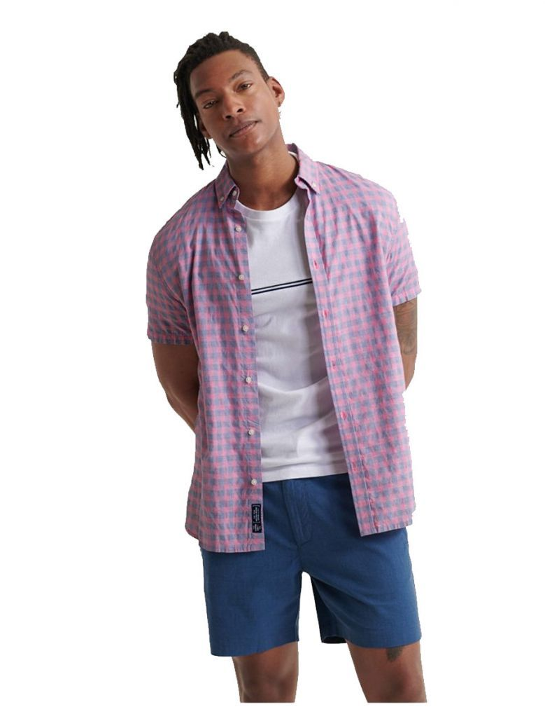 Superdry Pink Micro Grid check Classic Dobby Short Sleeved Shirt