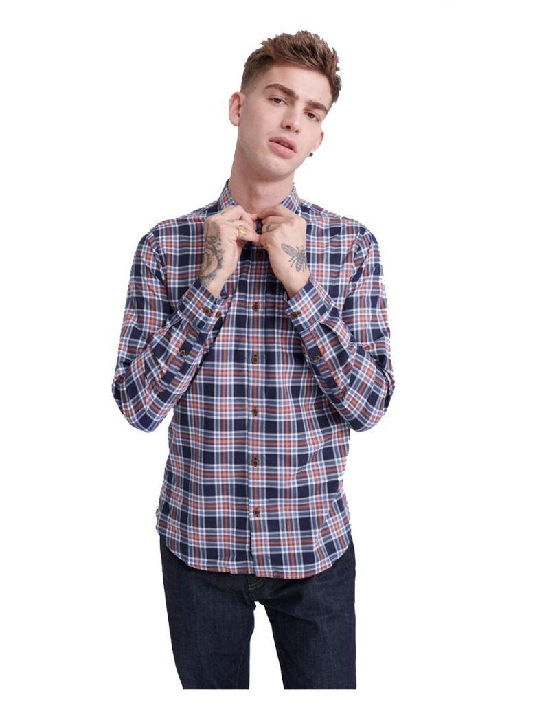 Superdry Navy Check Workwear Lite Long Sleeve Shirt