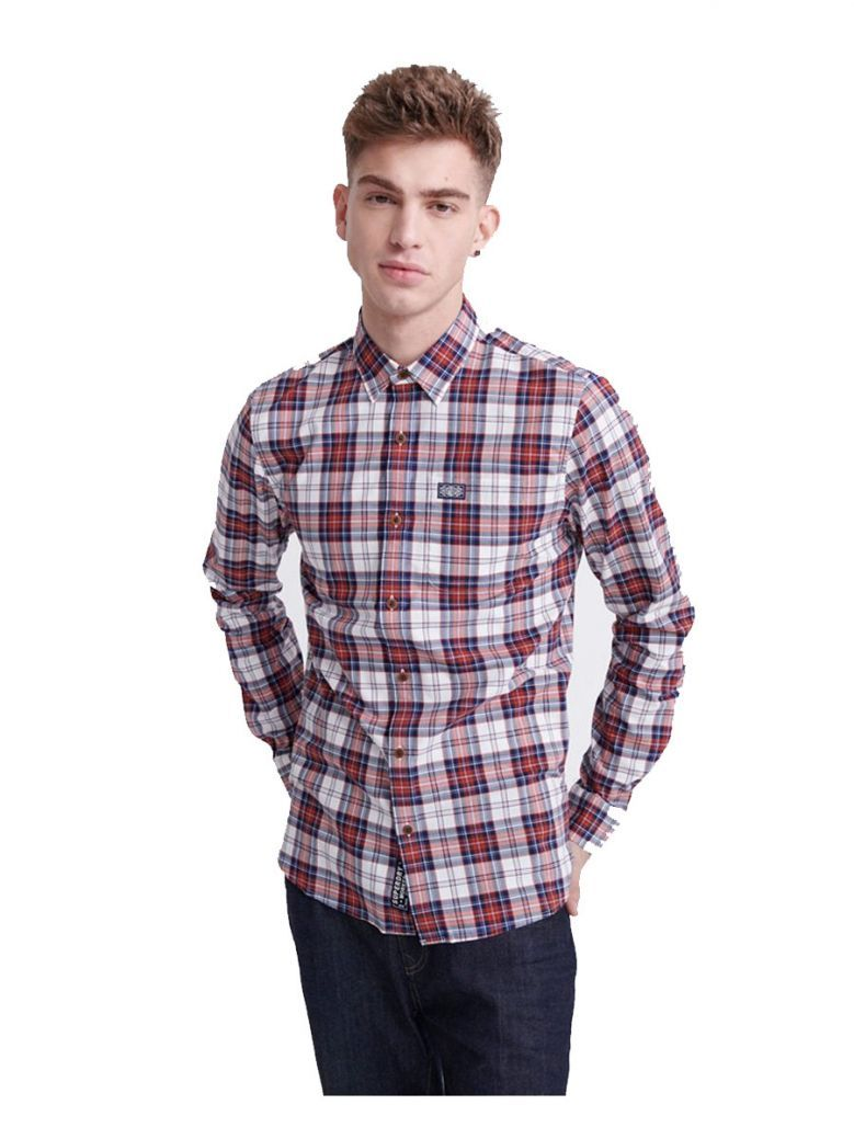 Superdry White Check Workwear Lite Long Sleeve Shirt