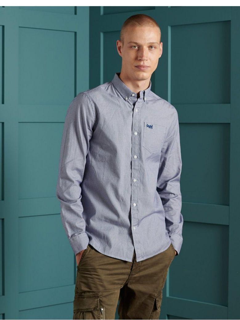 Superdry Broken Gingham Blue Classic University Oxford Shirt