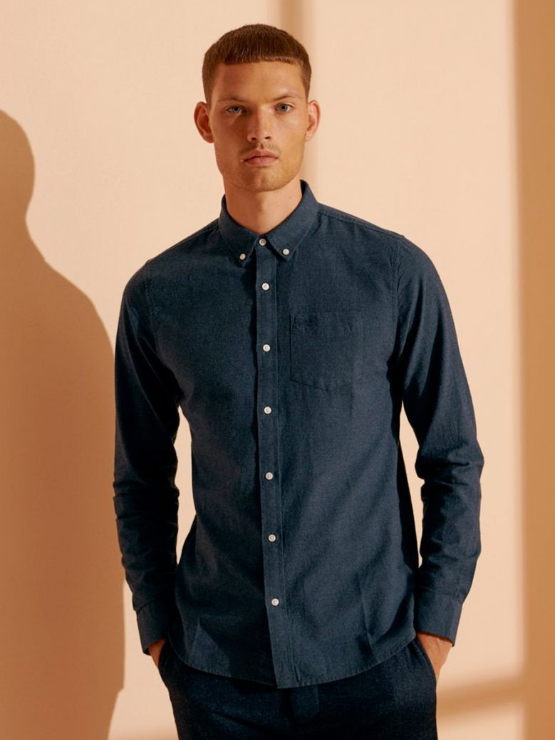Superdry Mens Navy Marl Classic University Oxford Shirt