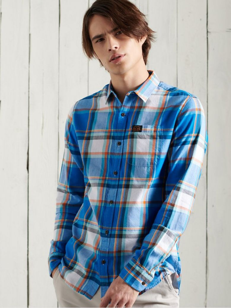 Superdry Chambray Blue Check Workwear Lite Shirt