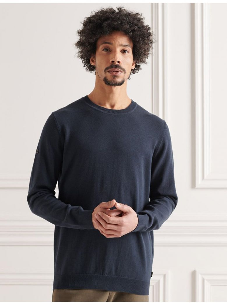 Superdry Eclipse Navy Cotton Crew Knitted Jumper