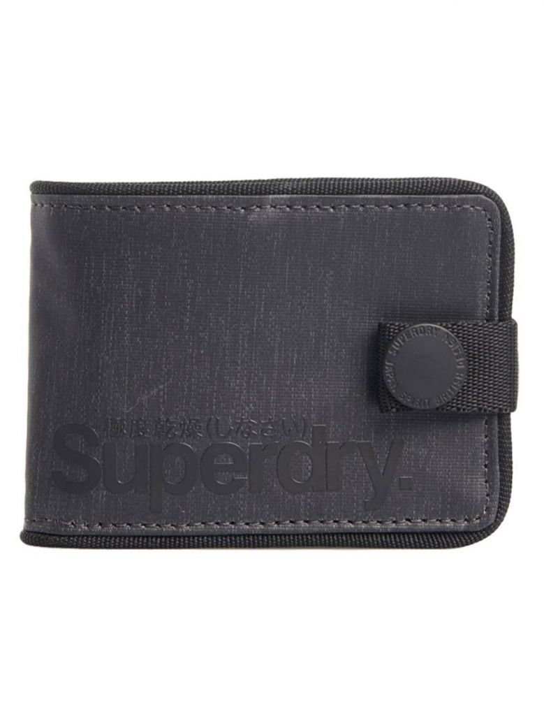 Superdry Black Tarp One Popper Wallet