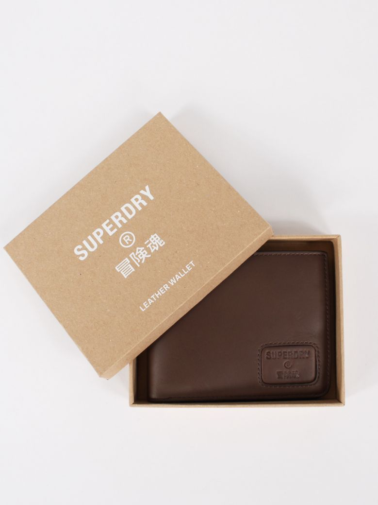 Superdry Dark Brown Leather NYC Bifold Wallet