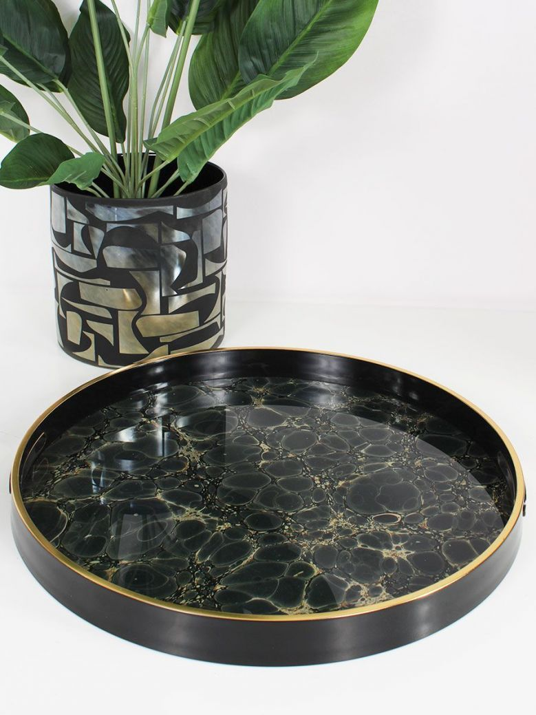 Marble Effect Round Tray