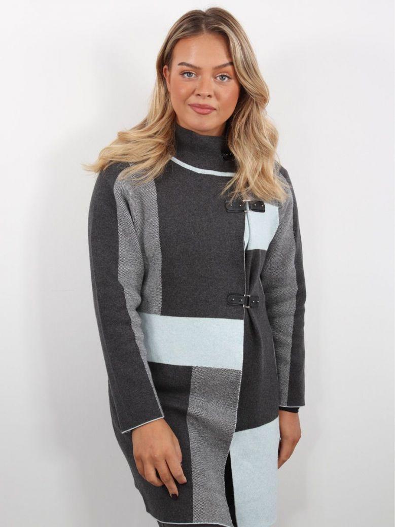Marble Printed Cardigan Jacket Grey