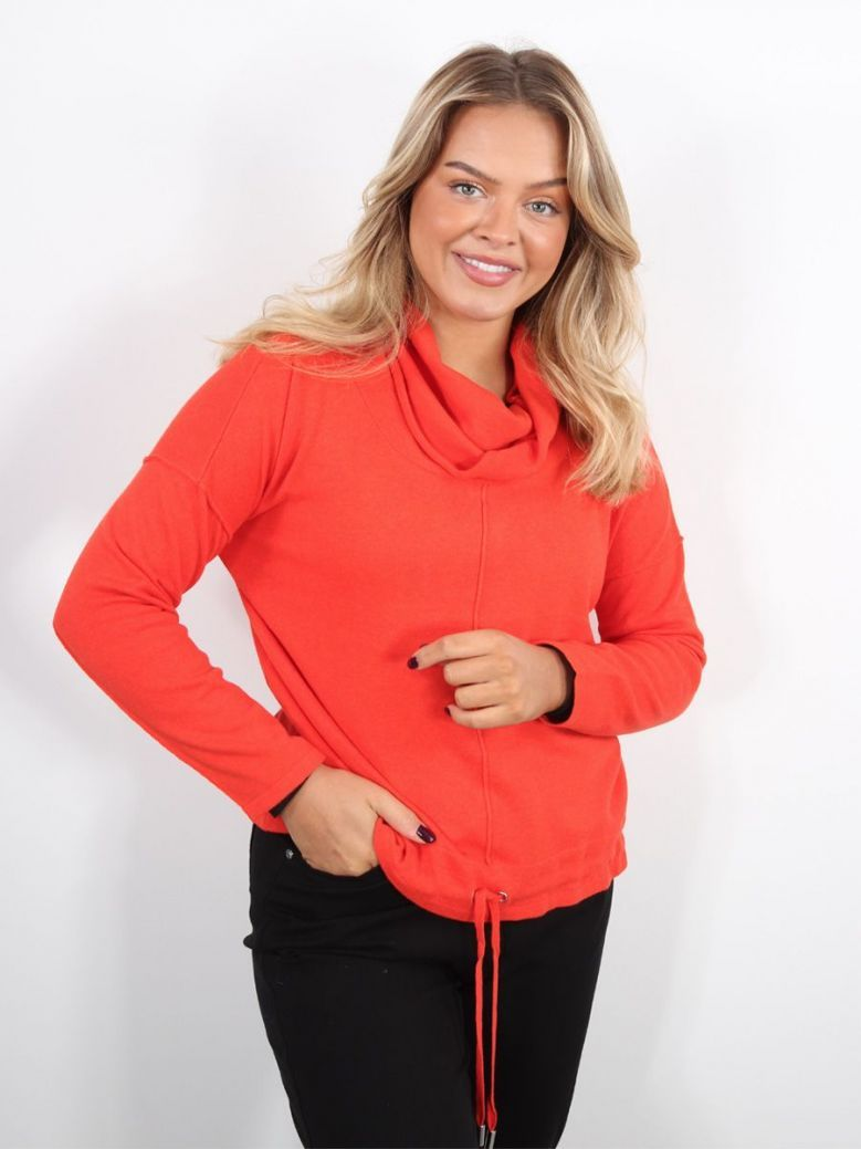 Marble Roll Neck Jumper Red