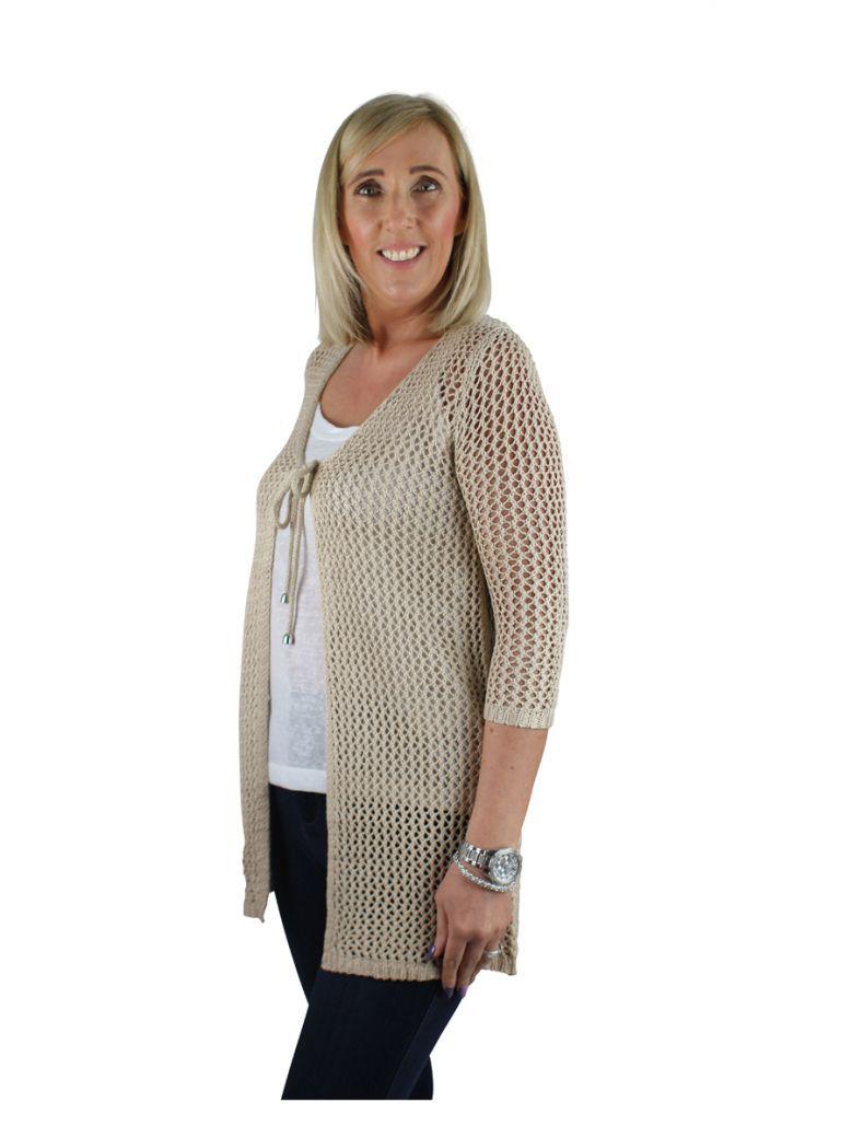 Marble Beige Crochet Loose Knit Cardigan