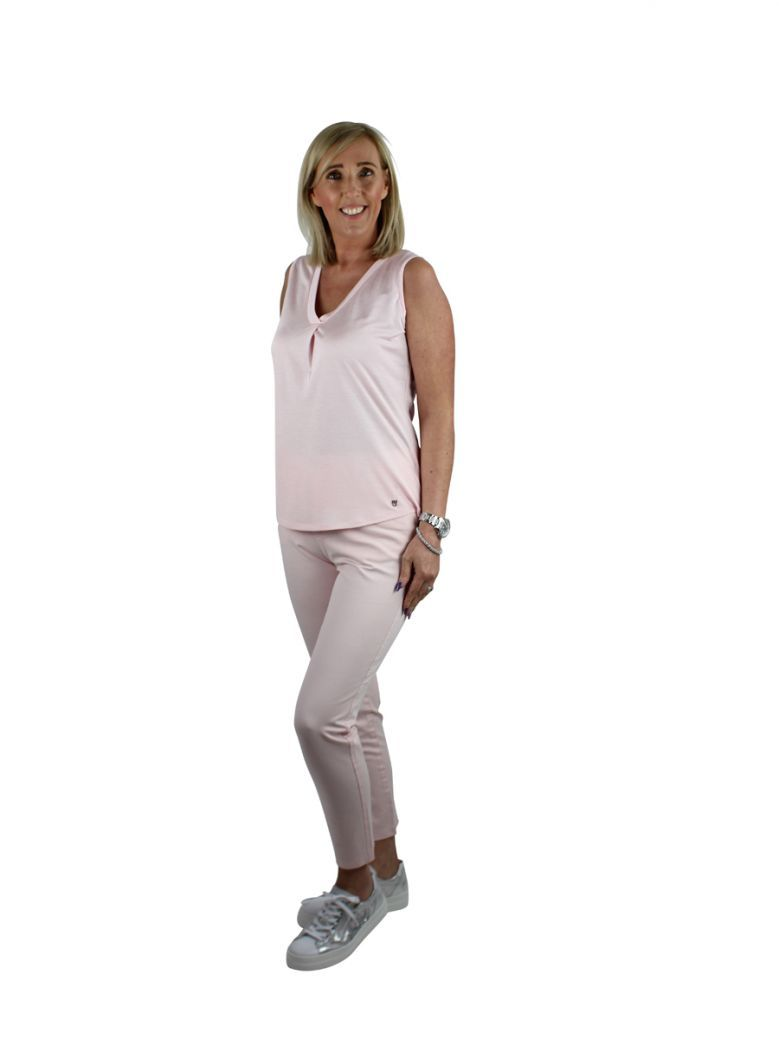 Marble Pink V-Neck Sleeveless top