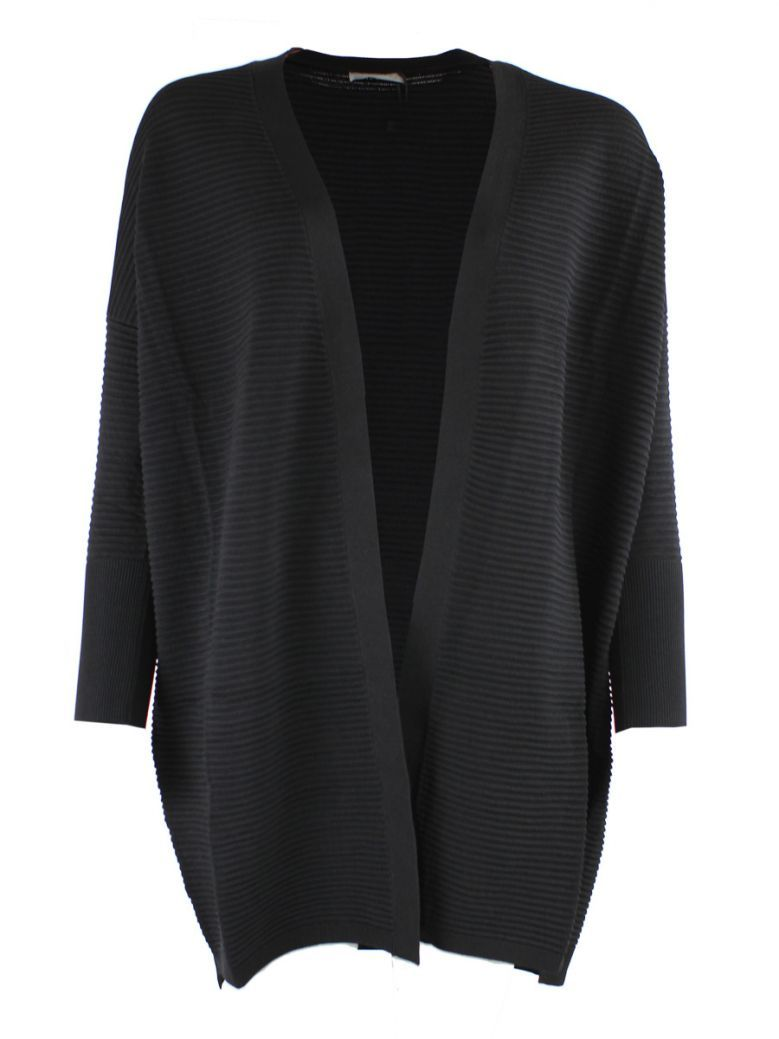Marella Black Ribbed Knit Cardigan