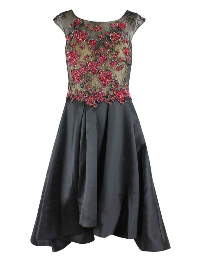 Mascara Beaded Bodice Dress Black