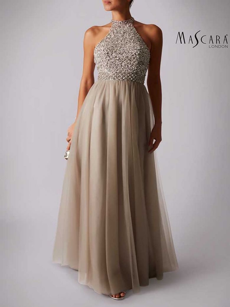 Mascara Beaded Bodice Floor Length Dress Sage
