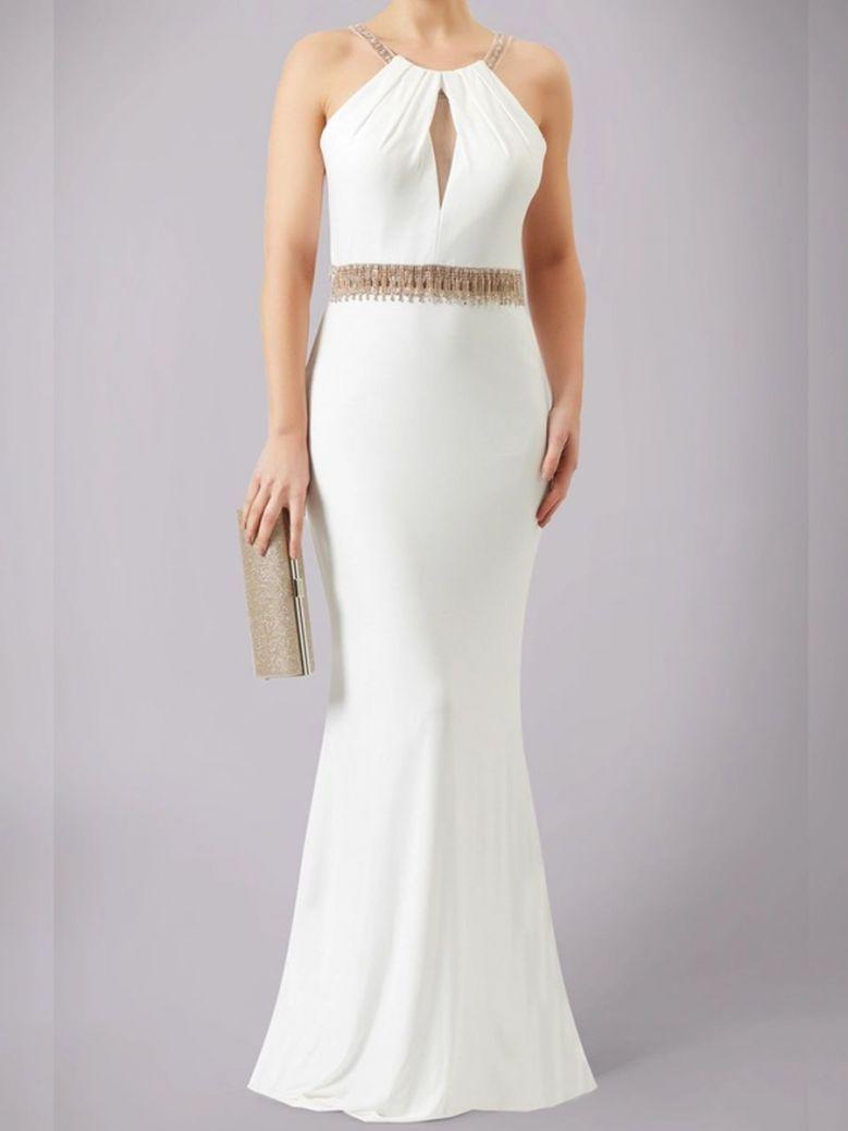 Mascara Embellished Waist Long Dress Ivory