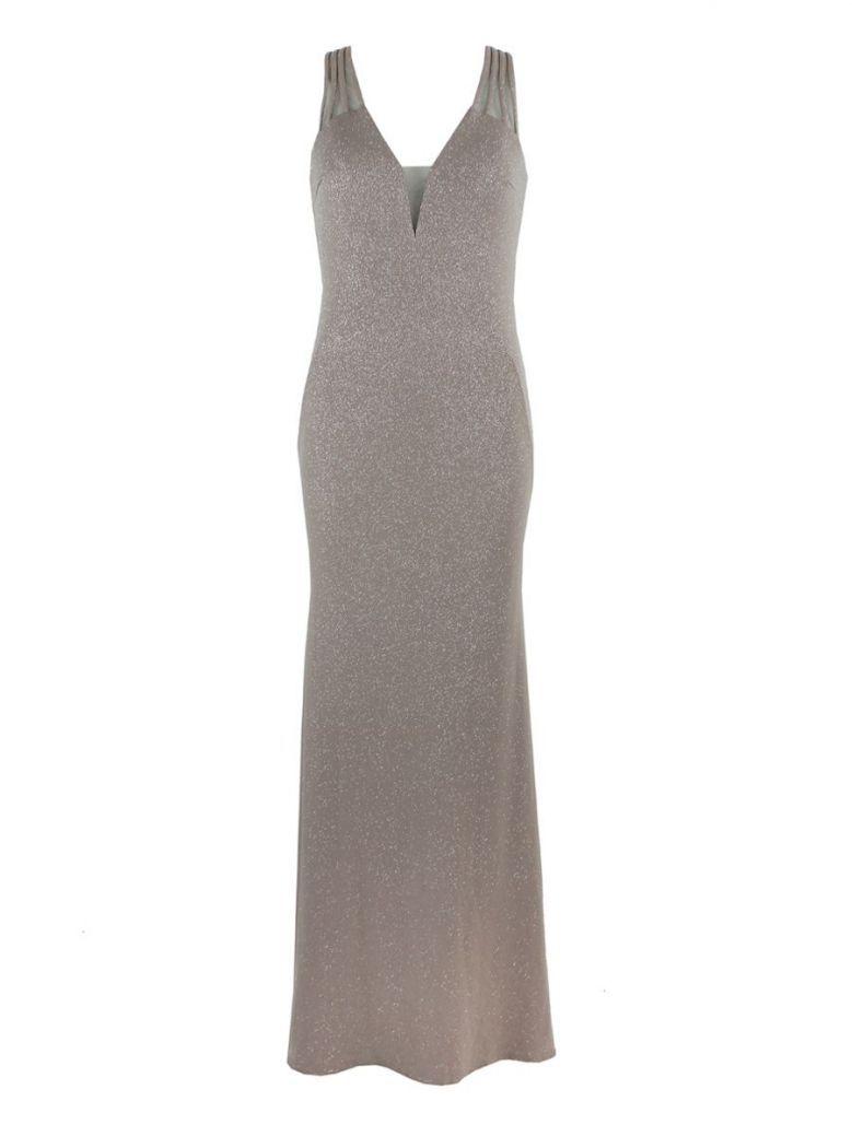 Mascara Floor Length Cross Strap Dress Taupe