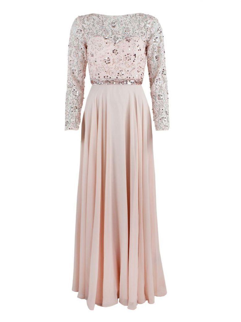 Mascara Floor Length Embellished Top Dress Pink
