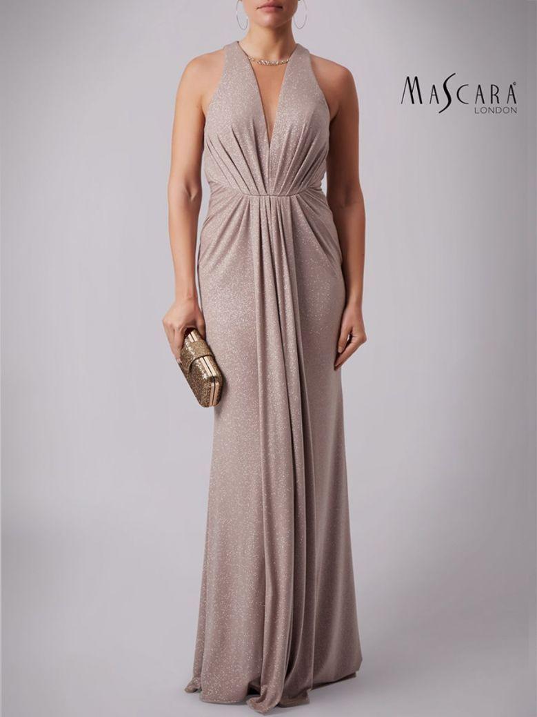 Mascara Floor Length Sparkle Dress Taupe