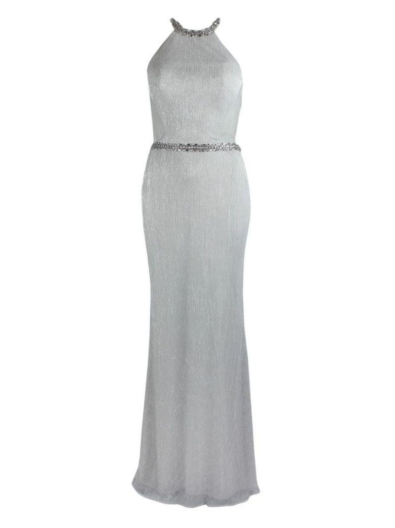 Mascara Illusion Back Jewelled Dress Silver