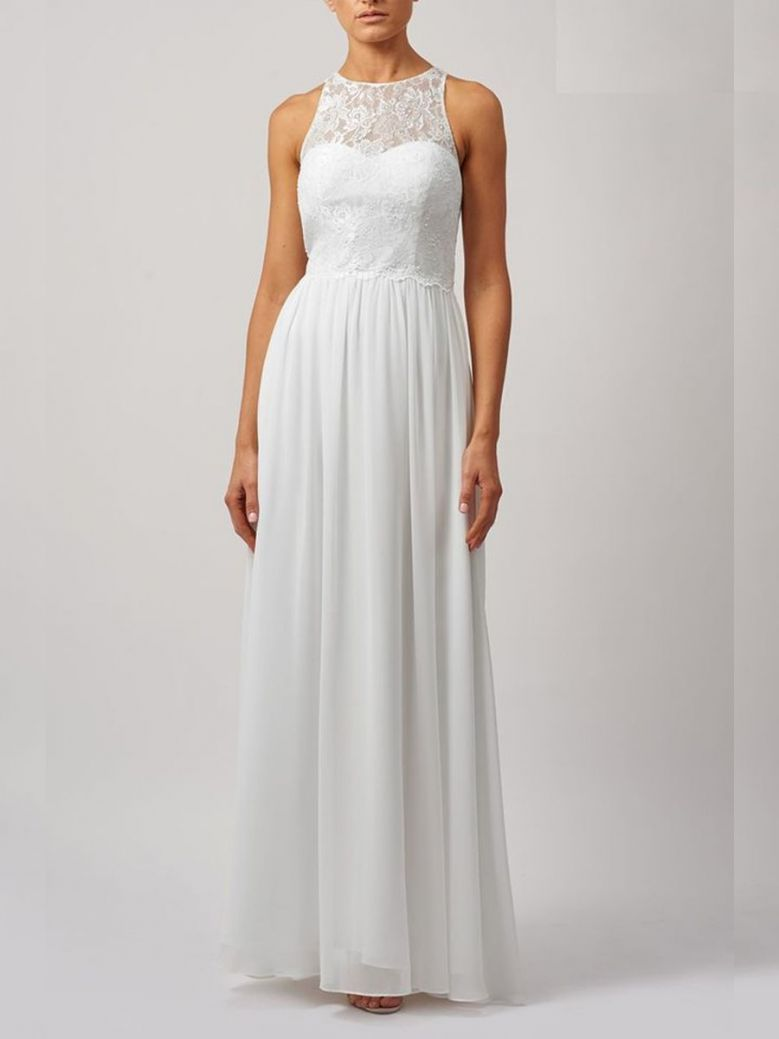 Mascara Long Lace Gown White
