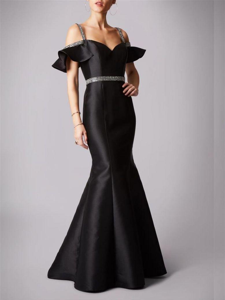 Mascara Satin Long Dress Black