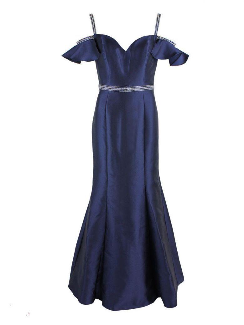 Mascara Satin Long Dress Navy