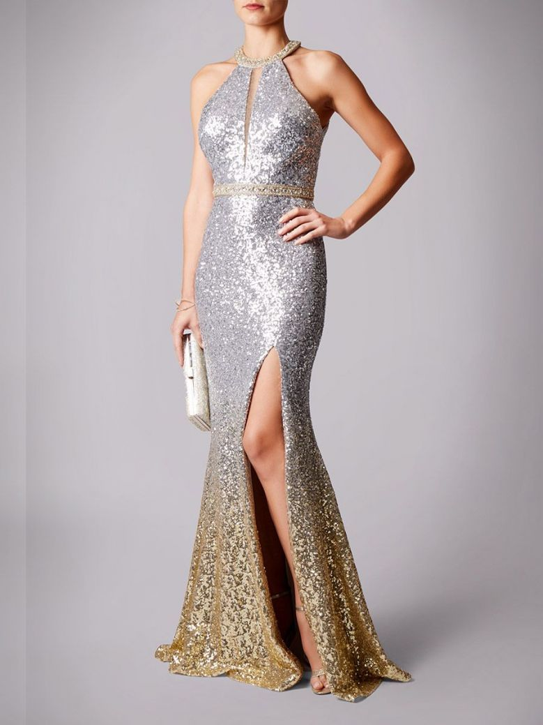 Mascara Sequin Embellished Long Dress Silver and Gold