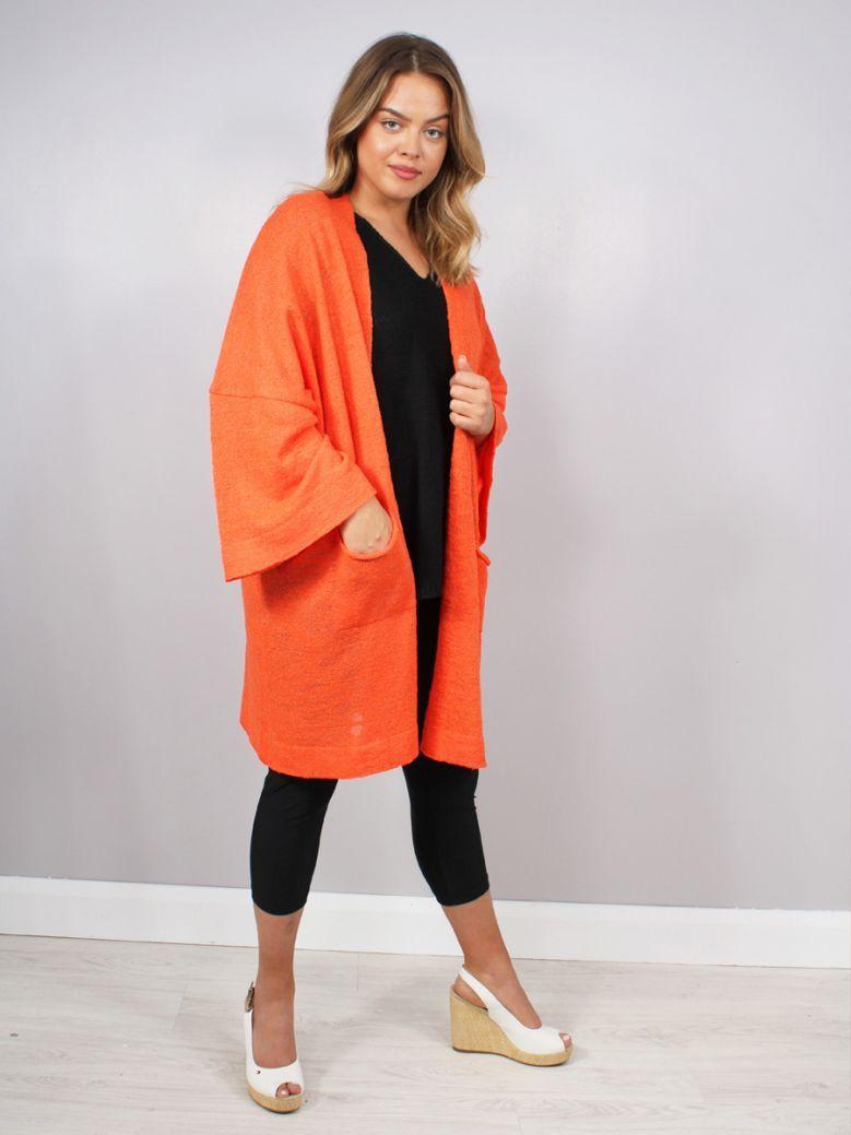 Mat Longline Cardigan Orange