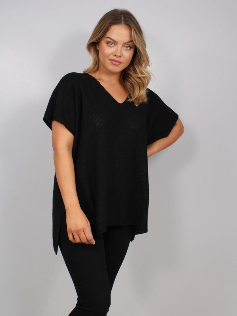 Mat Short Sleeved V-Neck Sweater Black