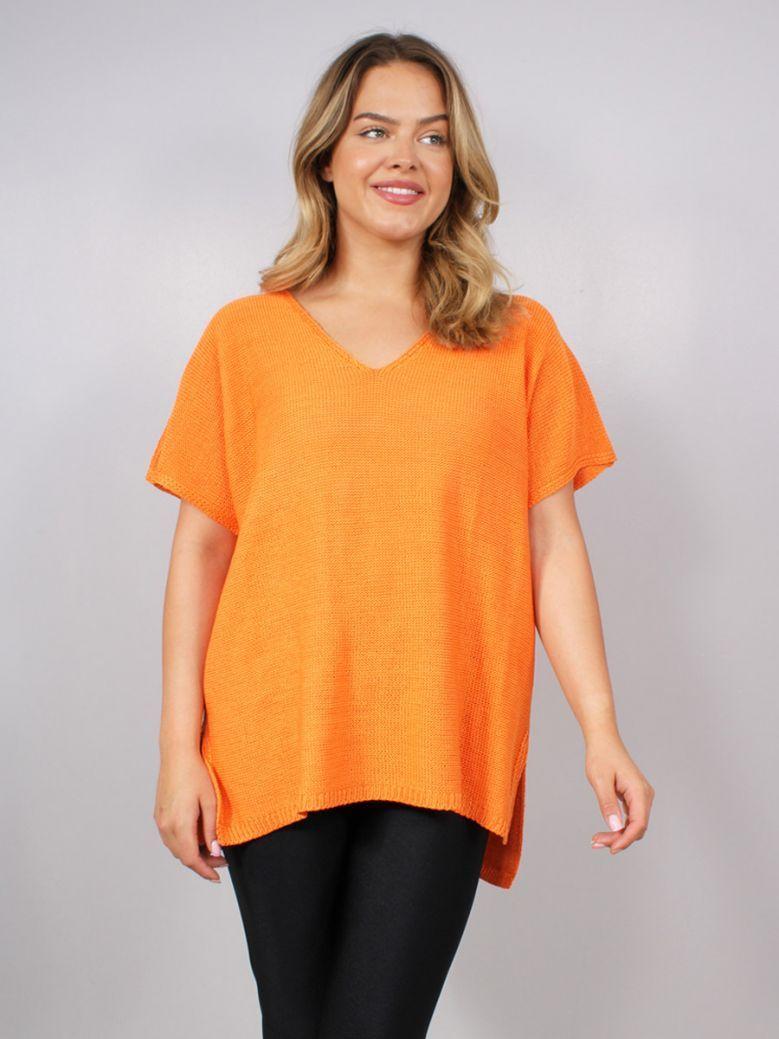 Mat Short Sleeved V-Neck Sweater Orange